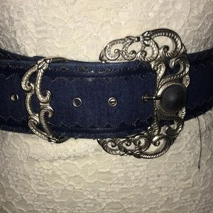 Accessories - Denim thick vintage belt with silver beauty buckle